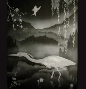 Carved Heron Panel